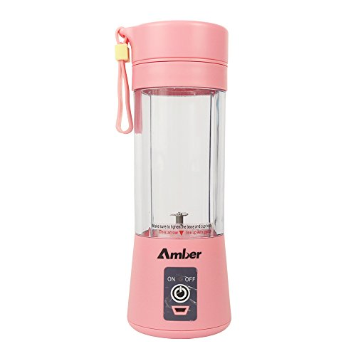 380ML Smoothie Blender, Portable Mixer, Protein Shaker Bottle, Blender for Baby Nutritional Food, Smoothies, Milk-Shake and Fruit Juice, Pink (Amber Cup)