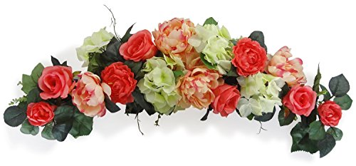 32'' Coral Rose Swag by V-Max Floral Decor