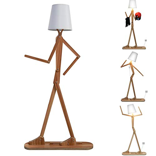 Floor Lamp, Modern Nordic Style 1.6m Creative Home Wooden Standing Light with DIY Adjustable Shapes Night Lamp for Bedroom, Dining Room and Living Room (Brown)