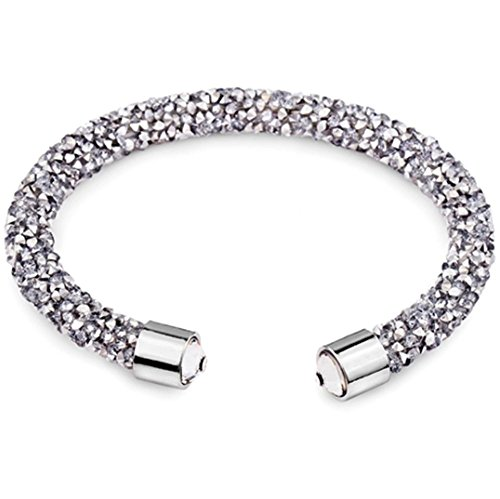 Silver and Post Women's Gray Cuff Bracelet Design with Crystals from Swarovski Bamboo Gift Box Included (Swarovski Gift Box)
