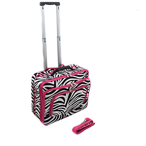 (World Traveler Fashion Print Women's Rolling 17-Inch Laptop Case, Pink Zebra, One Size)