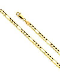 14k Yellow Gold SOLID 4.5mm Polished Figaro Chain Necklace with Lobster Claw Clasp