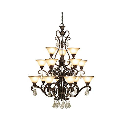 Chandeliers 18 Light Bulb Fixture with Multi Tone Bronze Finish Caramelized Glass with Crystal Jewels Medium 44