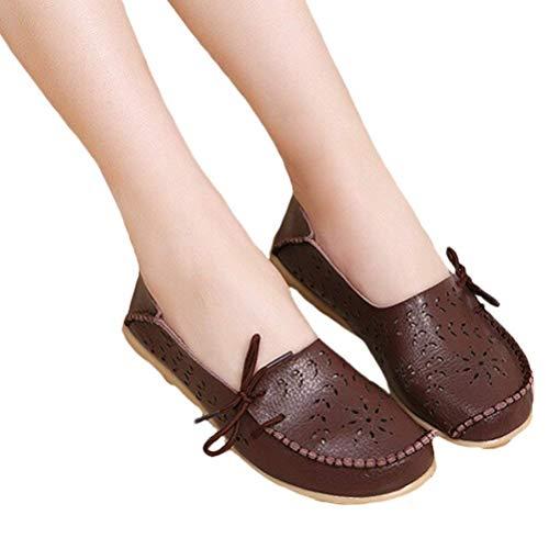 Cuir Qiusa Mocassins Taille Semelles 2 coffee Des Travail 1 Compensées Style coloré Uk À En Pour Confort Le Chaussures Et Femmes EEqrd