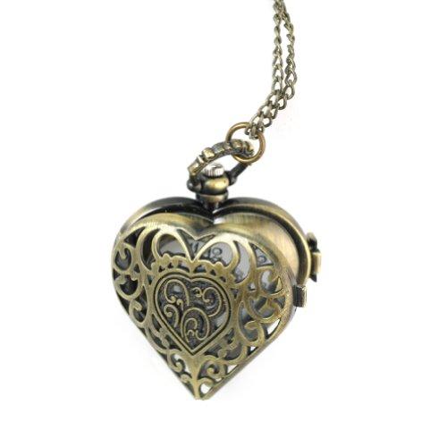 Taschenuhr Kettenuhr Halskette Quarz Uhr Anhänger Umhängeuhr Kette Bronze Herz
