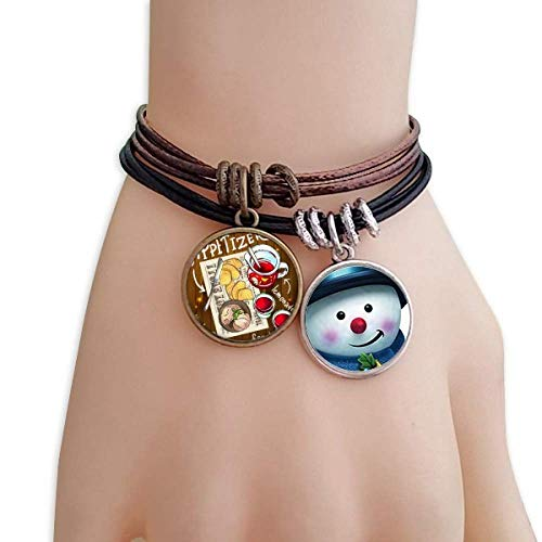 Lemonade Steak France Snowman Leather Rope Bracelet Handmade ()