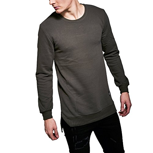 Monocloth Men's Street Wear Sweatshirt Oversized Basic Street Fashion Crew Neck Three Thread Plain Slim Fit 0002