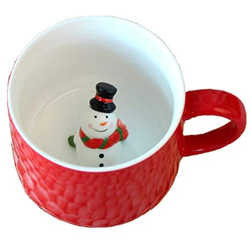 Moyishi Organic Lovely 300ml 3D Cups Morning Mugs Christmas Mugs, Christmas Gifts (Snowman)