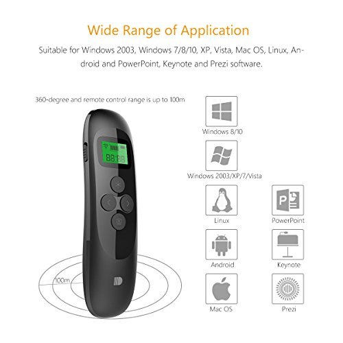 Presentation Remote, Doosl Rechargeable Wireless Presenter with LCD Display, 2.4GHz Wireless USB Powerpoint PPT Clicker Remote Control (Black) by Doosl (Image #3)