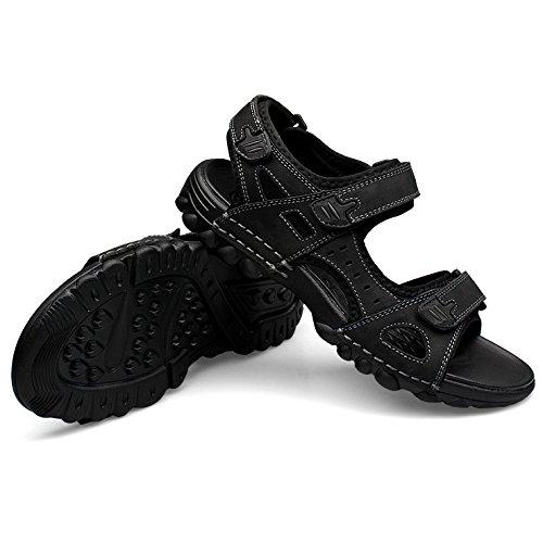 Hope Men's Leather Open Toe Sandals Boys Breathable Beach Shoes Sport Sandals Walking Fisherman Summer Sandals Black 4x3lG9