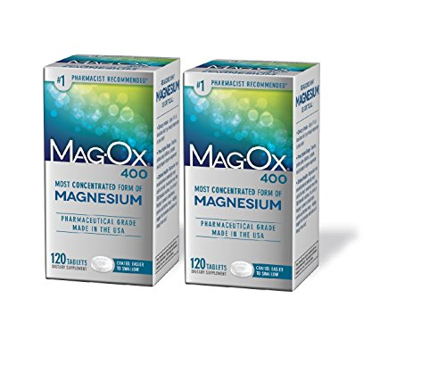 Tablets Magnesium Supplement (Mag-Ox 400 Magnesium Mineral Dietary Supplement Tablets, Magnesium Oxide, Pharmaceutical Grade, 120 Count (Pack of 2))