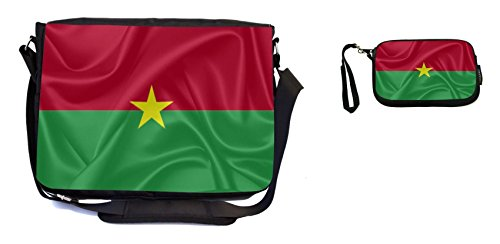 Rikki Knight Burkina Faso Flag Design Messenger Bag - School Bag - Laptop Bag - with Padded Insert - Includes UKBK Premium Coin Purse by Rikki Knight