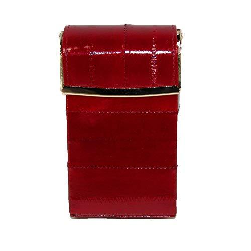 Ladies Eel Skin - Marshal Leather Women's Eel Skin Cigarette Case with Hinged Closure, Red