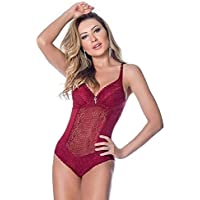 Body feminino com bojo e renda sensual lingerie Nayane Rodrigues BD4131