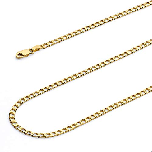 Wellingsale 14k Yellow Gold SOLID 2.5mm Polished Square Cuban Concaved Curb Chain Bracelet - 7
