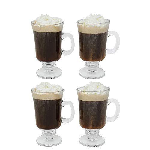 Irish Coffee Glass Coffee Mugs Footed Regal Shape 8 oz. Set of 4 Thick Wall Glass Cappuccinos, Mulled Ciders, Hot Chocolates, Ice cream and - Set Irish Glass Coffee