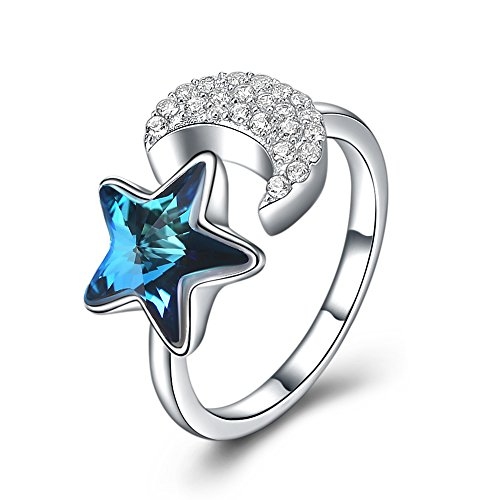 - OMZBM Star and Moon Ring Fashion S925 Sterling Silver Blue Austrian Crystal Zircon Adjustable Platinum Ring for Women Girls Size 5-7