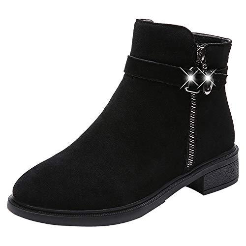 Punta Para Zapatillas Pure Cabeza Pelo Ante Bola Boots Gamuza Zipper 4 Botines Zapatos Redonda Mujer Black Cuña Botas De Bazhahei Color Con zw64z