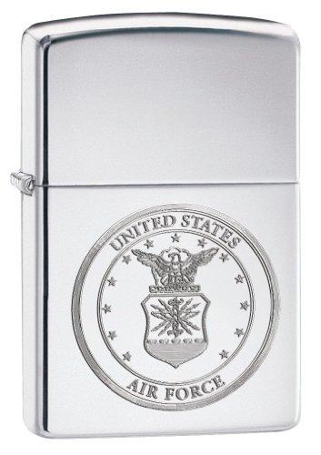 (Zippo Pocket Lighter Air Force Windproof Lighter, High Polish Chrome)