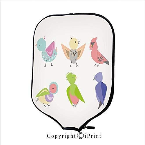 Soft Neoprene Pickleball Paddle Cover Zipper Sleeve Protective Case,Doves Vintage Card(Size:8.23