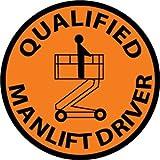 NMC HH83 2'' x 2'' PS Vinyl Hard Hat Emblem w/Legend: ''Qualified Manlift Driver'', 12 Packs of 25 pcs