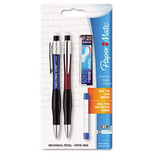 (Paper Mate ComfortMate Ultra Mechanical Pencil Starter Set, HB Lead, 0.5 mm, Assorted Barrel Colors, Pack of 2 Pencils)