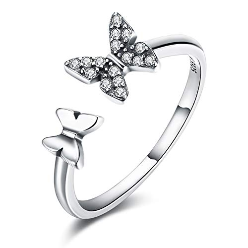 Haokan Butterfly 925 Sterling Silver Open Rings with CZ Diamond Fashion Jewelry for Women