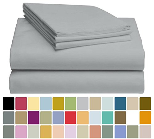 LuxClub Bamboo Sheet Set - Viscose from Bamboo - Eco Friendly, Wrinkle Free, Hypoallergentic, Antibacterial, Moisture Wicking, Fade Resistant, Silky & Softer than Cotton - Light Grey - California King Grey Bamboo