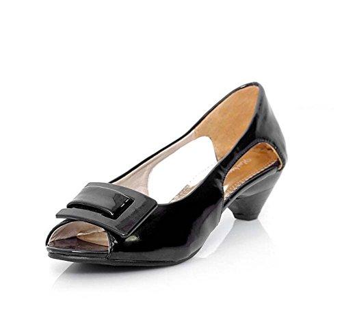 Zapatos Negro de de Vestido tacón Peep talones Azul Blanco de Verde Amarillo mujer bajo Rosa Black Toe charol Bombas 77dwnfxqr