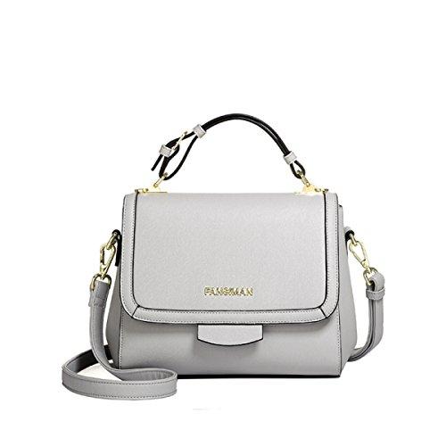 Frauen-Einkaufstasche-Schulter-Beutel-Art Und Weise Elegante Einkaufstasche PU-Leder Kurierbeutel Damenhandtasche Damen Schwarze Tasche Grey eHlt1p9eQP