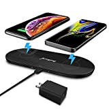 Dual Fast Wireless Charger, ZealSound Triple 10W/7.5W Fast Quick Charging Pad Portable Station Accessories & USB Output with Quick QC 3.0 Adapter for 3 Multiple Devices for Qi Enabled Phones (Black)