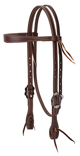 Weaver Leather Working Tack Slim Cowboy Browband Headstall with Buffed Brown Iron Hardware