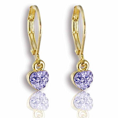 Crystal Heart Dangle Earrings for Girls Little Kids 14k Gold Plated- Girls Gifts Fashion Jewelry