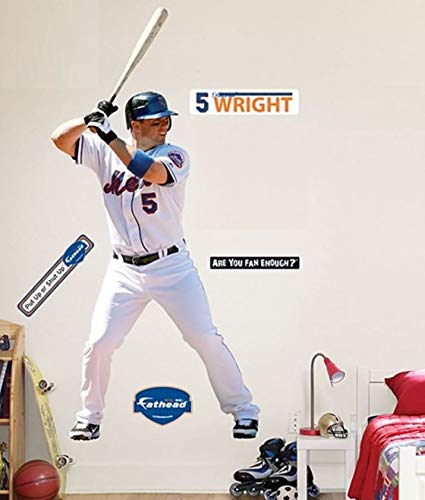 David Wright Wall Graphic - FATHEAD David Wright New York Mets Official MLB Vinyl Wall Graphic Life-Size, Over 7' FEET Tall