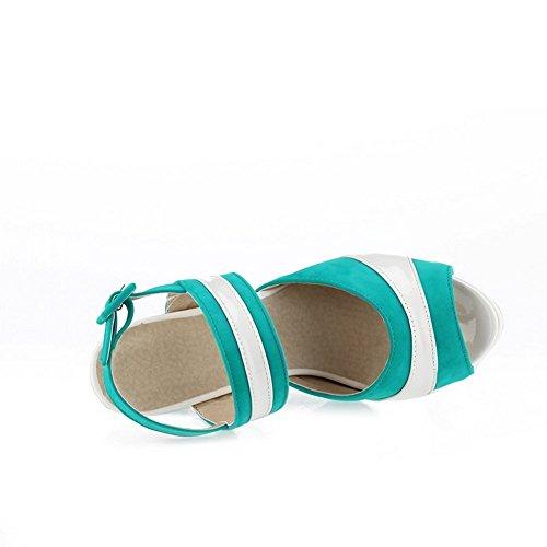 AdeeSu Mesdames Haut Talons Sandales en Cuir Couleurs Assorties Bleu Turquoise, 37.5 EU, SLC00232