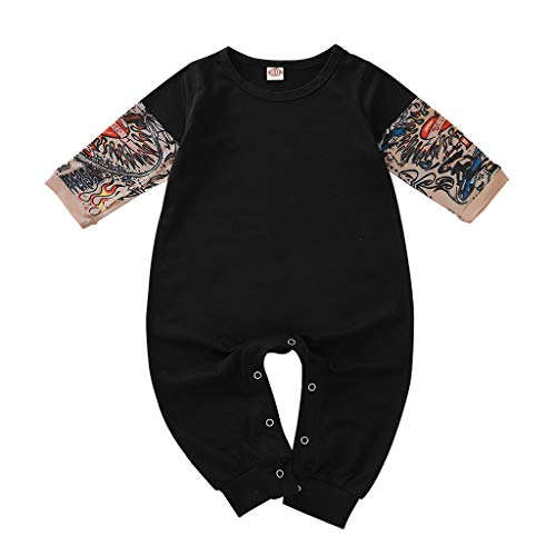 WINZIK Toddler Baby Boy Girl Bodysuit Tattoo Sleeve One-Piece Romper Jumpsuit Halloween Outfit Costume Gift 3-24M (92 for 18-24 Months, Black Long)