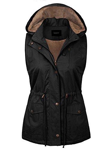 KOGMO Womens Fur Lined Anorak Safari Vest with Detachable Hoodie (S-3X)-L-Black