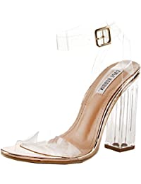 Maria-2 Women's Lucite Clear Strappy Block Chunky High Heel Open Peep Toe Sandal