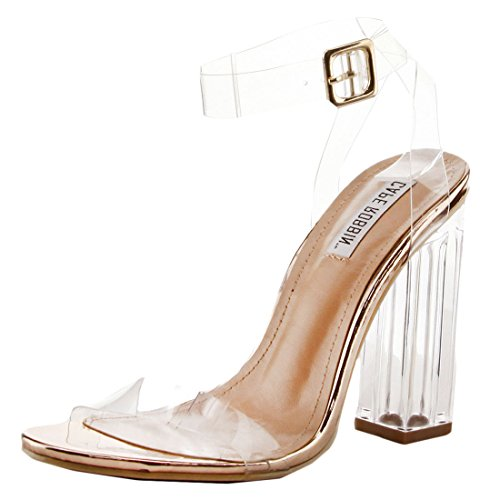 Women's Peep High Heel Cape Clear 2 Open Rose Gold Maria Chunky Strappy Toe Block Robbin Lucite Sandal wzqS7tq