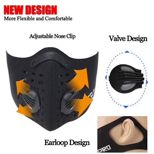 MoHo Dust Mask, Upgrade Version Activated Carbon Dustproof Mask Windproof Foggy Haze Anti-Dust Mask Motorcycle Bicycle Cycling Ski Half Face Mask for Outdoor Activities (1 Set Red) by MoHo (Image #2)
