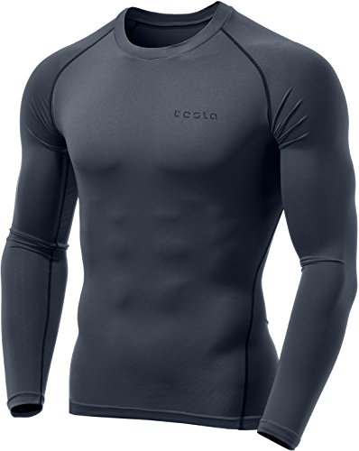 Long Sleeve T-shirt Tights - Tesla TM-MUD01-CHC_Medium Men's Long Sleeve T-Shirt Baselayer Cool Dry Compression Top MUD01