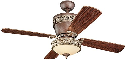 Monte Carlo 4VG42/28TBD-L, Villager Flush Mount Ceiling Fan with Light, 42'', Tuscan Bronze