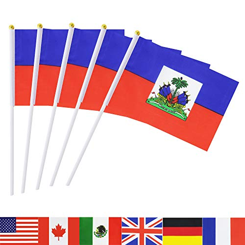TSMD Haiti Stick Flag, 50 Pack Hand Held Small Haitian National Flags On Stick,International World Country Stick Flags Banners,Party Decorations for Olympics,Sports Clubs,Festival Events Celebration