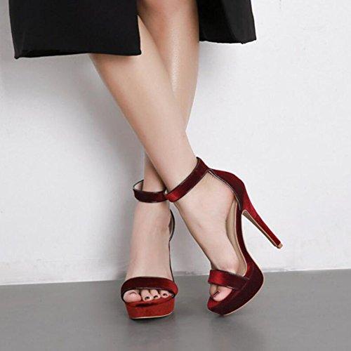 abierta de de tacón de de de del partido las bombas aguja borgoña y zapatos mujeres de Señoras punta negro zapatos plataforma casual tacón boda botas alto oficina de sandalias Burgundy GAOLIXIA verano carrera Zw8qdB