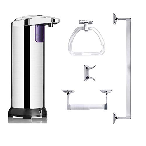 ClearMax 5 Piece Stainless Steel Bathware Set Towel Bar, Towel Ring, Double Robe Hook, Toilet Paper Holder & Automatic Soap Dispenser