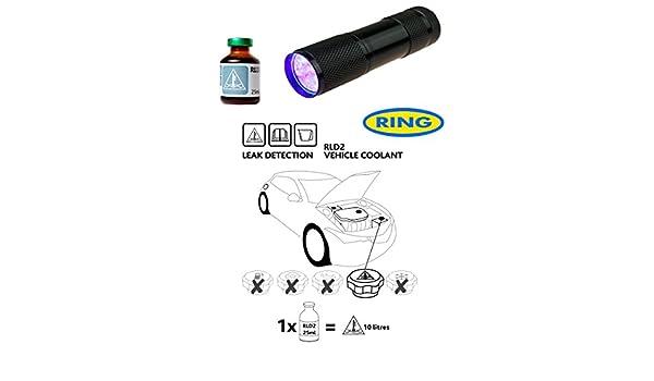 Fluido de detección de fugas de Dye & linterna UV Kit UV para Coche Sistema de refrigeración anticongelante RLD2: Amazon.es: Coche y moto