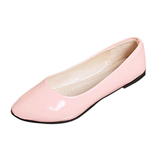 (Women's Flats Ballet Pointy Toe Casual Flat OL Slip-On Sandals Boat Office Shoes (Pink, US:6.5 (37)))