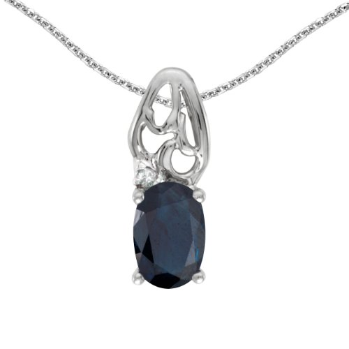 - 0.39 Carat (ctw) 14k White Gold Oval Blue Sapphire and Diamond Women's Solitaire Pendant with 18