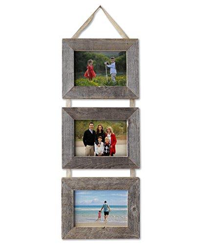 MyBarnWoodFrames - 3 5x7 Barn Wood Frames on Burlap Ribbon (Landscape-Landscape-Landscape) USA Made