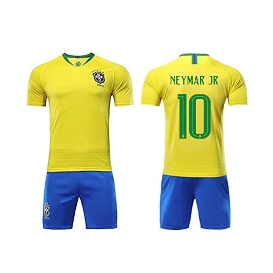 QQLONG Maillot de Football Neymar da Silva Santos Júnior, 10 Brésil équipe Nationale de Football à Domicile, Maillot + Short